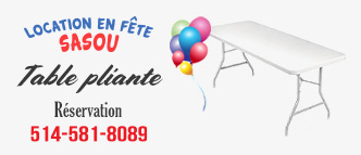 Sasou - Location de table pliante Laval